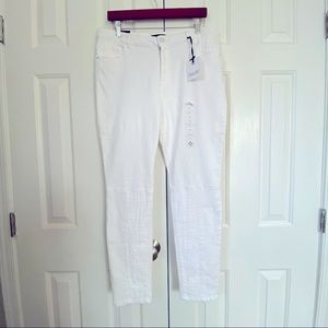 NANETTE LEPORE new white denim lace skinny jean 12